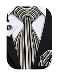 ①Perfect collocation-Necktie+handkerchief+cufflinks, easy-matching for all dress shirt and suit! ②Normal Size-3.35 inches*59 inches of tie; 9 inches x 9 inches of pocket square,best size for men. ③Excellent Material-Stainless steel for cufflinks& sil...