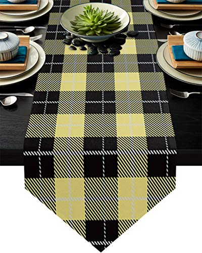 Savannan Burlap Kitchen Table Runner Yellow Black Lattice Long Anti-Skid Tabletop Decor Runner for Everyday Use,Special Occasions,Dinner Parties, 14'x72'