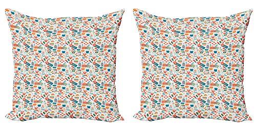 ABAKUHAUS Chanclas Set de 2 Fundas para Cojín, Snorkel s, con Estampado en Ambos Lados con Cremallera, 60 cm x 60 cm, Multicolor