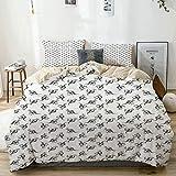 Juego de funda nórdica beige, dibujo a lápiz con dibujo a mano, figuras de animales de cola larga, fondo liso, juego de cama decorativo de 3 piezas con 2 fundas de almohada, fácil cuidado, antialérgic