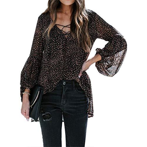 Damska bluzka z dekoltem w serek, wiązana szyfonowa bluzka w panterkę, seksowna tunika z rozcięciem w serek, czarna XL