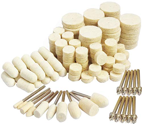 Felt Polishing Pad Set Wool Buffing Wheels Point & Mandrel Kit Shank Rotary Tools Accessories for Dremel
