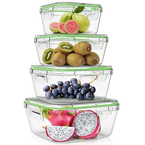 Home Fleek - Set de 4 Envases de Vidrio Cuadrado para Alimentos | Recipientes Herméticos de Cristal Para La Cocina | Apto para Lavavajilla, Horno, Microondas, Congelador | Sin BPA (Verde, Set de 4)