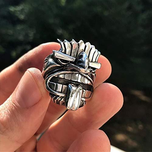 SDFASD Māori Mythologie Silber Edelstahl Totem Ringe Herren Tribal Unique Biker Amulett Schmuck 10