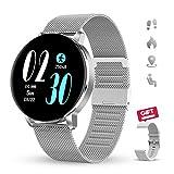 GOKOO Reloj Inteligente Hombre Mujer Smartwatch 1.3' IPS Pantalla Pulsera Actividad Completa Táctil Reloj Deportivo IP67 Impermeable Compatible con Android iOS (Plata)