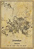 Malaysia Seremban Landkarte Wandkunst Poster Leinwanddruck