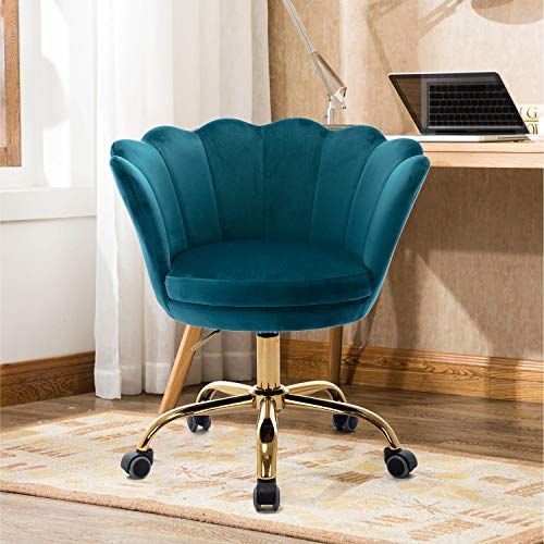 Goujxcy Home Office Chair,Teal Velvet Desk Chair,Modern Ergonomic Computer Desk Chair, Adjustable Swivel Chair, Upholstered Task Chair with Gold Metal Base for Office Study Bedroom