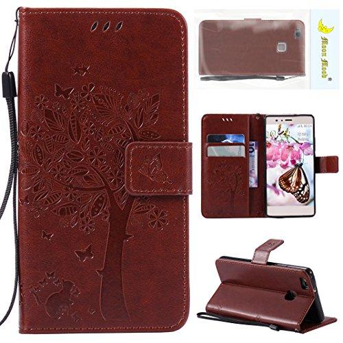 Moon mood Handyhülle Huawei P9 Lite Kaffee Leder Flipcase, Huawei P9 Lite Wallet Hülle, Huawei P9 Lite Ledertasche, PU Leder Tasche für Huawei P9 Lite 5.2 Zoll Schutzhülle Leder Wallet Portemonnaie