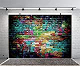 WOLADA 7x5FT Graffiti Colorful Brick Wall Backdrops for Photography Harlem Backdrop Rap 80's 90's Hip Hop Baby Birthday Wedding Party Photo Background for Studio Props 9397