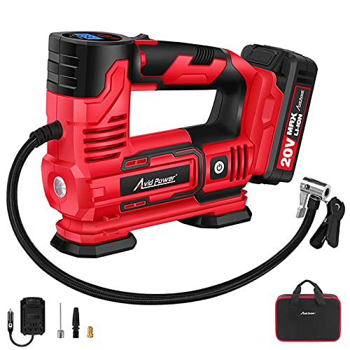 AVID POWER Tire Inflator Portable Air Compressor, 20V Cordless Car Tire Pump with Rechargeable Li-ion Battery, 12V Car Power Adapter, Digital Pressure Gauge