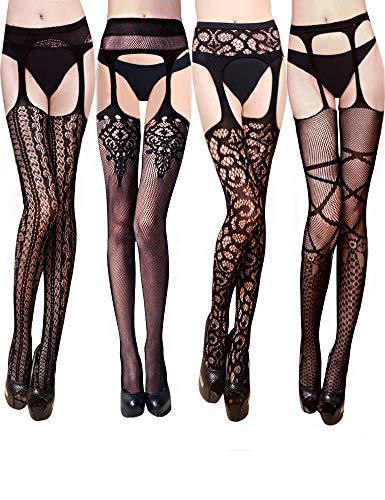 VERO MONTE 4 Pairs Fishnet Pantyhose for Women Garter Belt and Stockings (BLACK)
