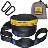 Wise Owl Outfitters Talon Hammock Straps - Combined 20 Ft Long, 38 Loops W/ 2 Carabiners - Easily Adjustable, Tree Friendly Must Have Gear for Camping Hammocks Like Eno Blue Stitching