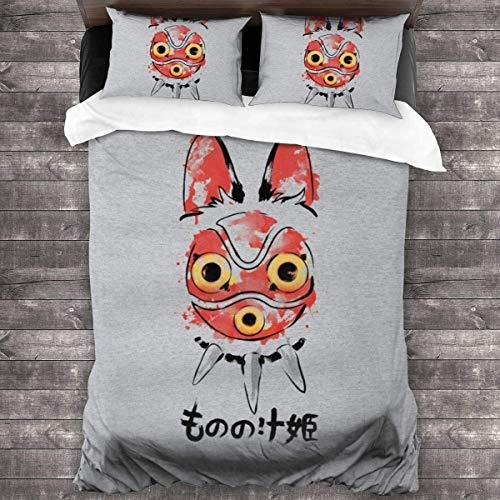 Jnsio Wolf Girl Mask Princess Mononoke 3-teiliges Bettwäscheset Bettbezug, dekoratives 3-teiliges Bettwäscheset mit 2 Kissenbezügen