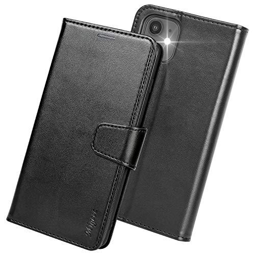 Migeec iPhone 12 Mini Hülle - Leder Handyhülle Brieftasche [RFID Blocking] Flip Cover mit Kreditkartenhalter und Tasche für iPhone 12 Mini 5.4 Zoll - Schwarz