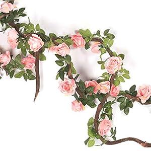 Facibom Artificial Flower Silk Rose Flower Hanging Artificial Plants Wedding Party Garland Craft Summer Garden Decor-Pink
