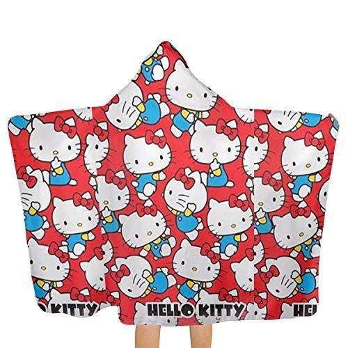 FSTGF Toalla de Playa Grande Capucha y Toalla de baño para bebé, diseño de Hello Kitty en Fondo Rojo, Toalla de Playa de Secado rápido para Piscina, Ultra Absorbente, 51.5 x 31.8 Pulgadas