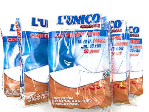 100 pezzi - L'UNICO ORIGINALE PANNI PER SPOLVERARE PULIZIA CATTURAPOLVERE PANNO ELETTROSTATICO CATTURA POLVERE ANTIPOLVERE PULIRE MOBILI PAVIMENTI CASA SUPERFICI GRANDE 30X50cm 5 pacchi da 20pz