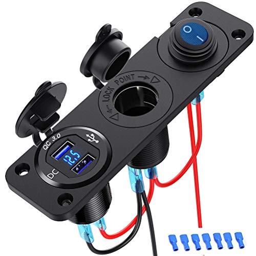 Encendedor de cigarrillos doble QC3.0, cargador de coche USB dual, tira de alimentación, divisor de encendedor de cigarrillos, toma de fuente de alimentación con pantalla LED para coche,barco marino