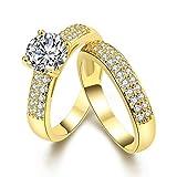 Uloveido Conjunto de Joyas de Boda Anillos de eternidad de Compromiso de Color Oro Amarillo para Hombres y Mujeres con CZ Creado Diamante Tamaño 14 KR005