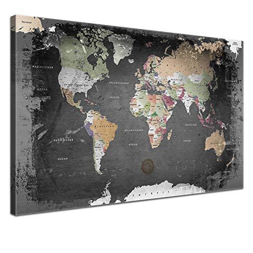 """LANA KK - Weltkarte Leinwandbild mit Korkrückwand zum pinnen der Reiseziele – """"Weltkarte Graphit"""" - deutsch - Kunstdruck-Pinnwand Globus in schwarz, in 150x100cm"""