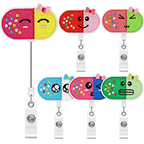 6 Pieces Nurse Badge Holder Reel Retractable Name Badge Holder Felt Tag Holder with Clip Cute ID Badge Reel Clip for Nurse Doctor Office School, 6 Designs