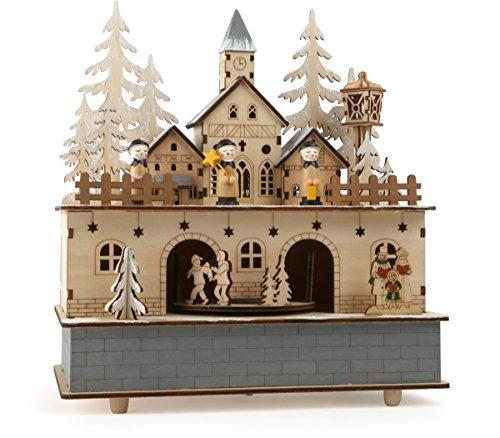 small foot Holz mit integrierten Lichtquellen, feine Elemente wie Kirche, Tannenbäume und Personen als winterliches Dorf, mit schöner Melodie beim aufziehen Spieluhr, Natur, 24 x 21 x 11 cm