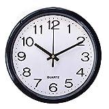 20,3 cm große, runde Quarz-Wanduhr ohne Ticken, geräuschloses Scannen, analog, dekorativ für Schlafzimmer, Büro, Küche, Wohnzimmer (schwarz)
