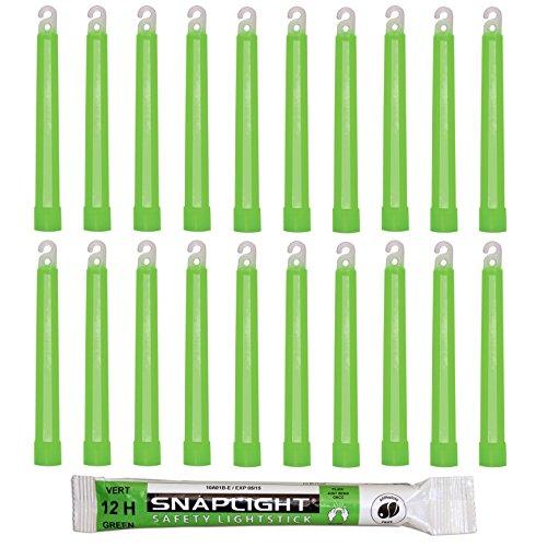 Cyalume SnapLight Grün KnickLichter Glow Sticks – 15cm 6 Inch Industrial Grade Leuchtstab, Ultra helle Light Sticks mit Leuchtdauer 12 Stunden (20-er Pack)