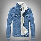 SJIUH Chaqueta de Plumas,Men's Denim Jacket Warm Winter Casual Bomber Male Korean Style Cowboy Jacket Fashion Fleece Vintage Clothing Men Black Jean Coat,Sky Blue,180cm 90kg for 5XL