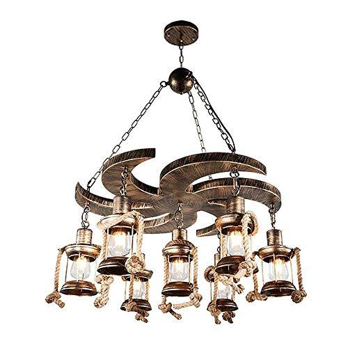 LQ Luces colgantes de techo Iluminación de interior cáñamo retro de la cuerda de la lámpara del restaurante Loft Bar lámpara colgante Industrial Lámpara de suspensión ajustable Altura E27x7 candelabro