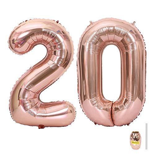 Huture 2 Luftballons Zahl 20 Figuren Aufblasbar Helium Folienballon Große Folienmylar Ballons Riesen Roségold Ballons 40 Zoll Luftballons Zahl für Geburtstag Party Dekoration Abschlussball XXL 100cm
