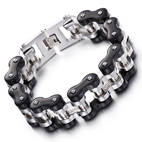 NELSON KENT Heren 22MM Titanium Staal Fietsen Armband Zilver Zwart