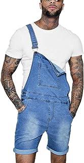 GUOCU Mens Jean Shorts Denim Dungarees Bib and Braces Overalls Distressed Slim Fit Roll Up Playsuit Casual Jumpsuit