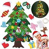 BEKOIUP El árbol de Navidad del Fieltro, 32PCS Adornos Arbol de Navidad DIY en Fieltro con 50 Led Luz Christmas Hanging Tree Set Pared para Niños Decoración de la Pared de la Puerta del hogar