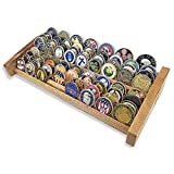 DecoWoodo 8 Rows Military Challenge Coin Display Holder Stand Walnut Finish