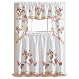 GOHD - 3pcs Kitchen Curtain/Cafe Curtain Set, Air-brushed By Hand of Flying Butterfly Design (swag & 36' tiers set)