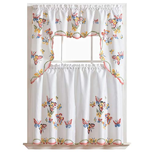 """GOHD - 3pcs Kitchen Curtain/Cafe Curtain Set, Air-brushed By Hand of Flying Butterfly Design (swag & 36"""" tiers set)"""