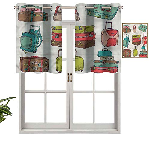 Hiiiman UV Blockout Valance Curtain Panel Colorful Suitcases, Set of 2, 42'x24' for Children Kids Room