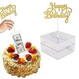 Luxtrip Cake Money Box Set,Money Pulling Cake Making Mold,Cake Money Box,Glitter Heart Cake Toppers,Interesting birthday cake for Birthday Party Decoration