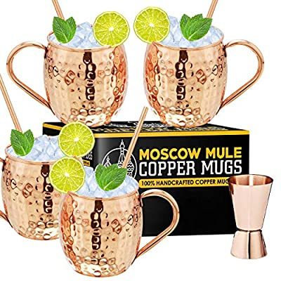 Moscow Mule Copper Mugs - Set of 4-100% Handcrafted - Food Safe Pure Solid Copper Mugs - 16 oz Gift Set with Bonus: Highest Quality Cocktail Copper Straws and Jigger