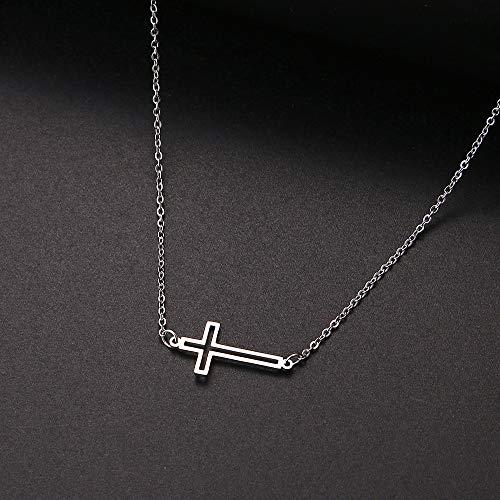 Revilium Collares y Colgantes Cruzados para Mujer Collares Pendientes Masculinos de Acero Inoxidable Joyas de oración 45Cm
