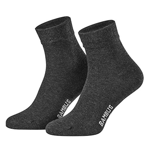 Piarini Gr. 39-42 6 Paar Bambussocken Herren-Socken kurz antibakteriell anthrazit grau