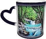 Nature Sevenstars Árbol Cascada Piedra Río Bosque Magia Sensible al calor Taza que cambia de color en el cielo Arte divertido Tazas de café Regalos personalizados para amantes de la familia