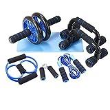 Lixada Rueda Abdominales Kit 7 en 1 con Push-UP Bar Cuerda para Saltar Esterilla de Rodilla para Entrenamiento Muscular Fitness Ejercicio en Casa