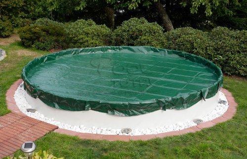 Winter- Sommer Abdeckplane für Pools bis Ø 3,00 m - Oberseite grün / Unterseite schwarz