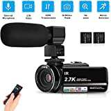 """Video Camera Camcorder 2.7K full HD vlogging Camera for YouTube WiFi 3.0""""IPS Touchscreen"""