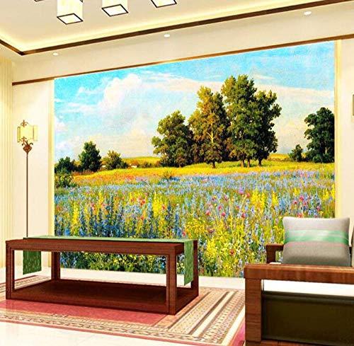 Vliesbehang 3D-behang landschap handgeschilderd met bloemen kruiden bomen achter de TV sofa bed als achtergrond in de woonkamer 200*140 200*140
