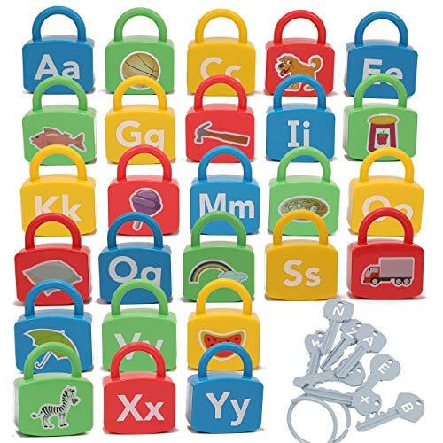IQ Toys ABC Learning Locks Educational Alphabet Set- with 26 Locks, 26 Keys and 4 Keyrings