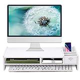 Monitor Stand Riser, Computer Laptop Riser Shelf with Organizer Drawer (White, 19' L x 8' W x 4' H)