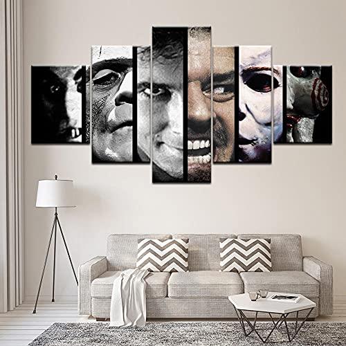 5 Piezas Cuadro sobre Lienzo De Fotos Película de Terror de la película de Miedo Lienzo Impresión Cuadros Decoracion Salon Grandes Cuadros para Dormitorios Modernos Mural Pared Listo para Colgar